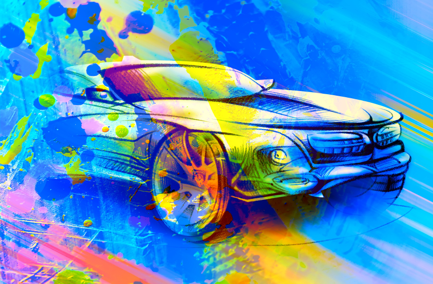 Cool Car Drawing Abstract